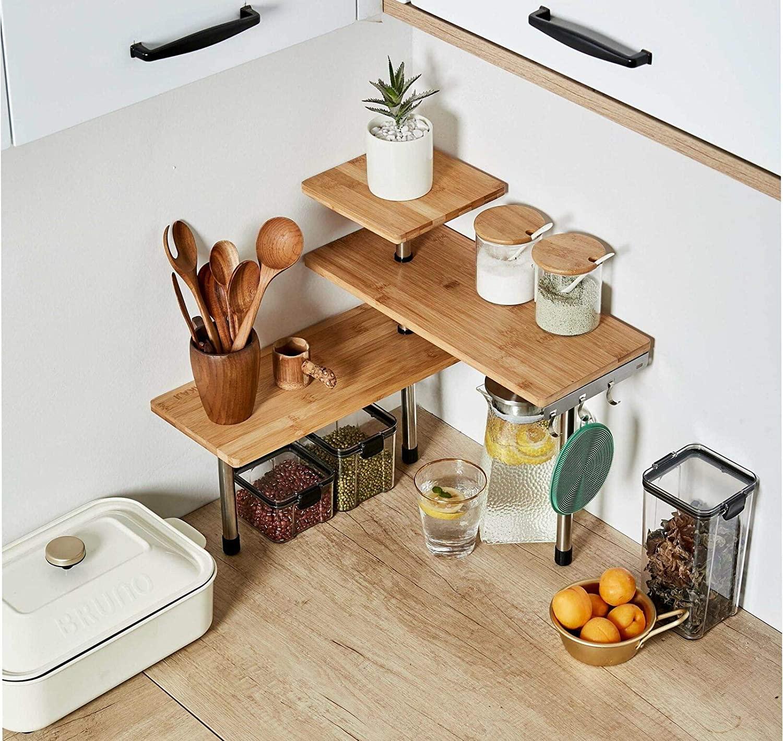 3 Tier Corner Shelf Bamboo & Metal Storage Spice Rack-kitchen Shelves