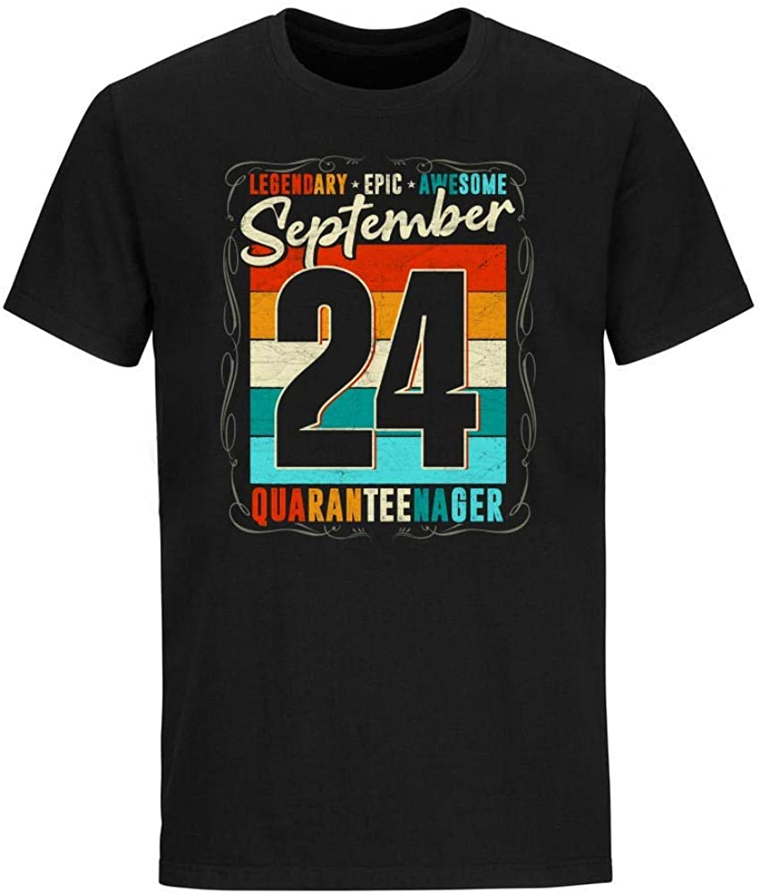Vintage Legendary Epic Awesome September 24 Quaranteenager Birthday Social Distancing T-Shirt Novelty Cute Funny Graphic Short Sleeve Unisex Tees Shirts