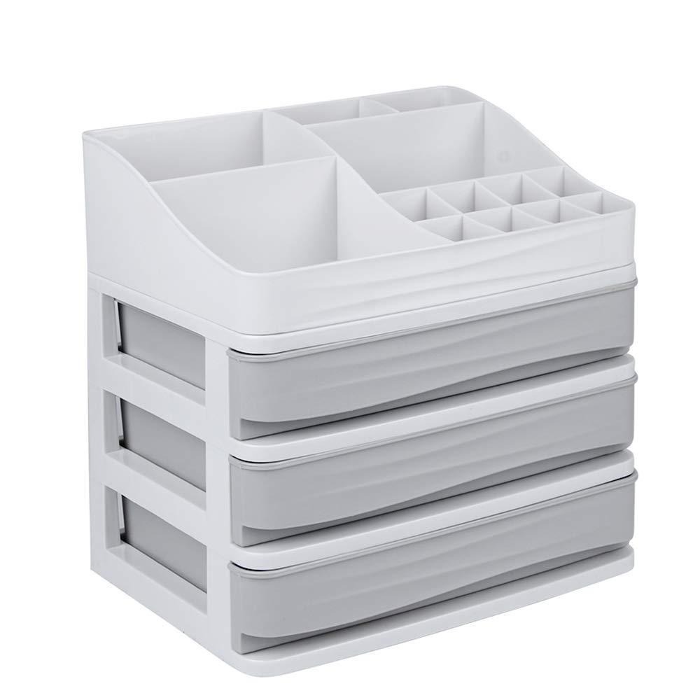 ELUCHANG Cosmetic Makeup Organizer Plastic Storage Box with Drawer Lipsticks Holder Desktop Sundry Storage Case