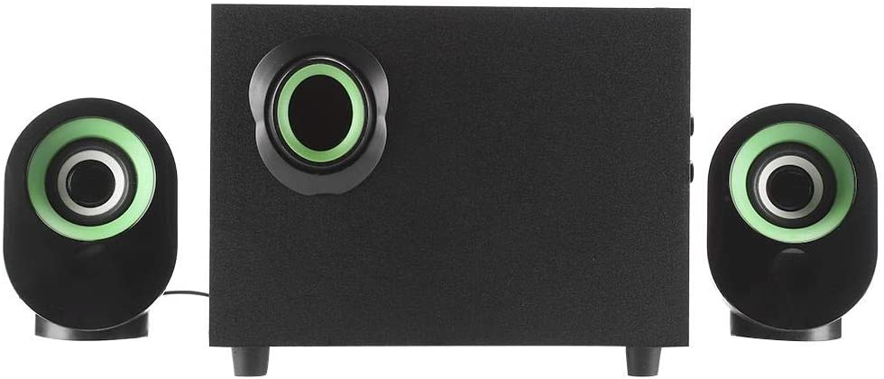 Hoseten 2.1 Multimedia USB Speaker, USB PC Subwoofer, FT-X7 PC for Desktop for Laptop Tablet(Green Circle Black)
