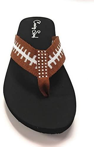 Cocomo Soul Football Fabric Flip Flops Football Mom Flip Flops Football Sandals Football Flip Flops for Women Rhinestone Accents