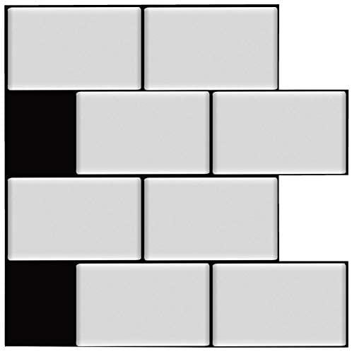 Deco i Amour Peel and Stick Backsplash Tile Sticker for Kitchen Bathroom, Subway Tile White with Black Grout, 10 x 10 inch, Matte Effect, 10 Sheets
