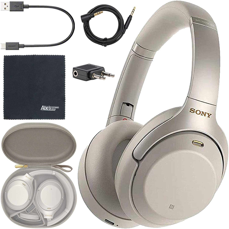 Sony WH-1000XM3 Wireless Noise-Canceling Over-Ear Headphones (Silver) WH1000XM3/S + AOM Bundle - International Version (1 Year AOM Warranty)