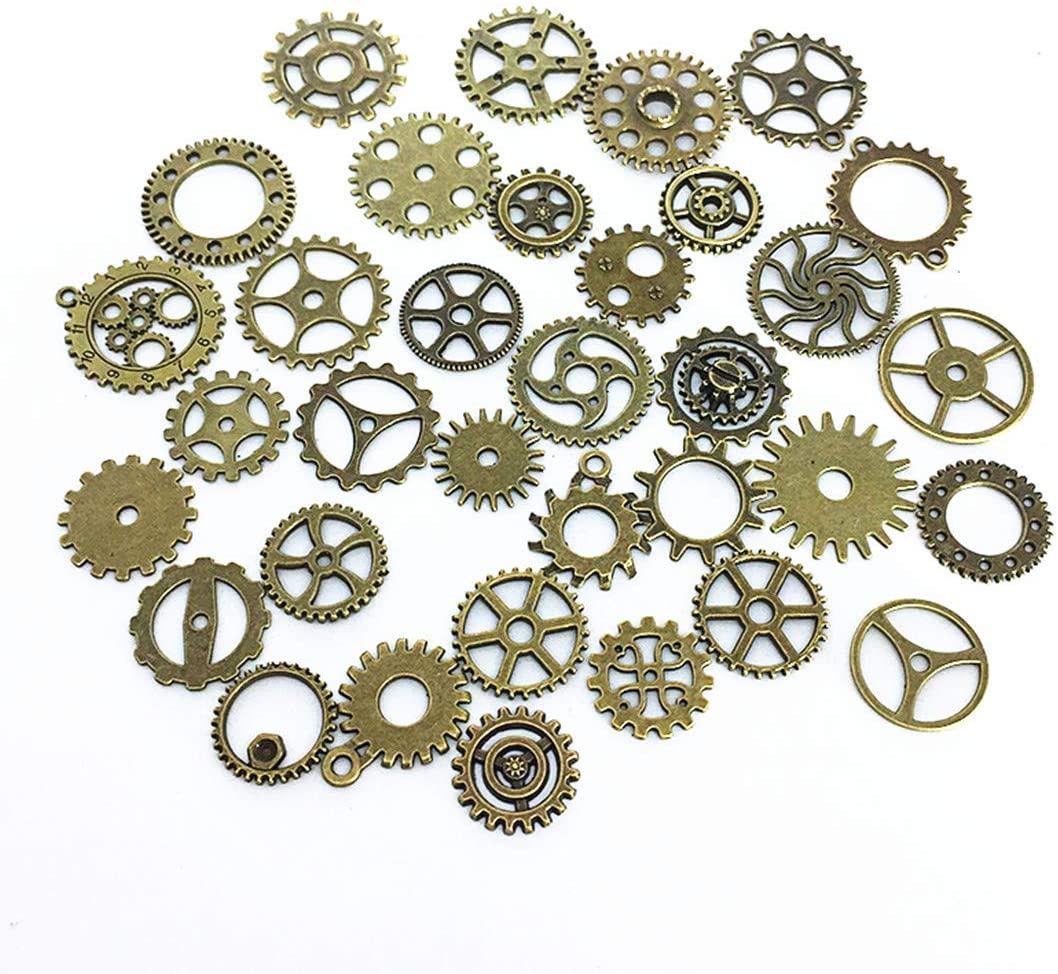 100 Gram DIY Antique Cog Wheel Steampunk Gears Charms Pendant Clock Wheel Gear (Bronze)
