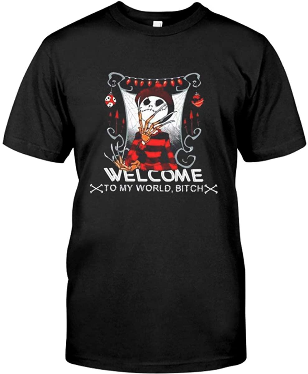 Welcome to My-World-Bitch-Jack-Skellington-Halloweenn-Shirt Black
