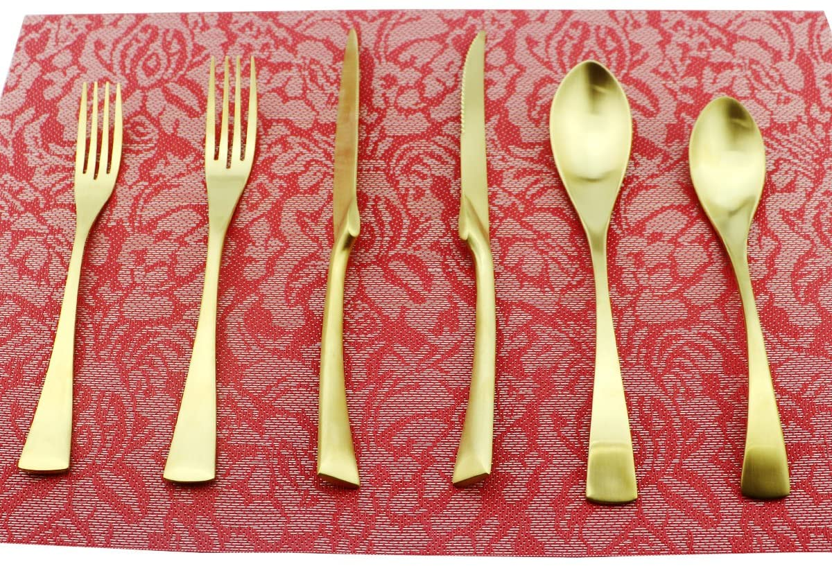 Uniturcky 6-Piece Flatware Set,Extra Thick Heavy Duty - 18/10 Stainless Steel Cutlery Sets,High Matte Finish Gold Flatware Sets Service for 1,Multipurpose Use for Home,Kitchen,Tableware Utensil Sets