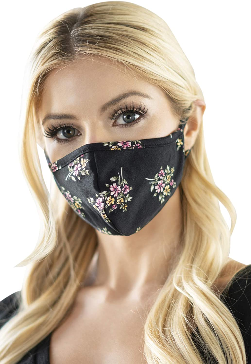 Reusable Fabric Face Mask Covering Unisex - Cute Print Cloth Comfy Washable Breathable Outdoor Mouth Shield Protection Men Women (Pointy/Ear Loop - Floral Bouquet Black)