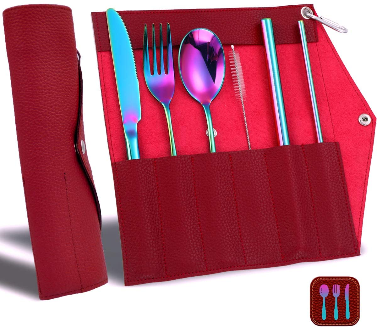 Portable Utensils Silverware Set and PU Leather Wrap Bag, Travel Camping Cutlery Set, Flatware Organizer for Travel Camping Office or School Lunch (Rainbow & Wine red)
