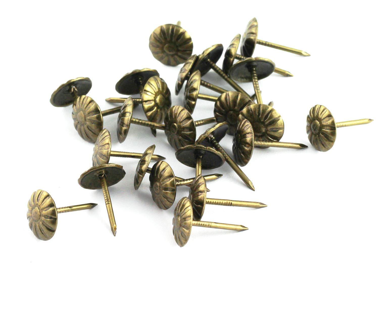 MroMax Upholstery Nails Tacks 23mm Head Dia Antique Round Thumb Push Pins Bronze Tone for Furniture Sofa Headboards 35 Pcs