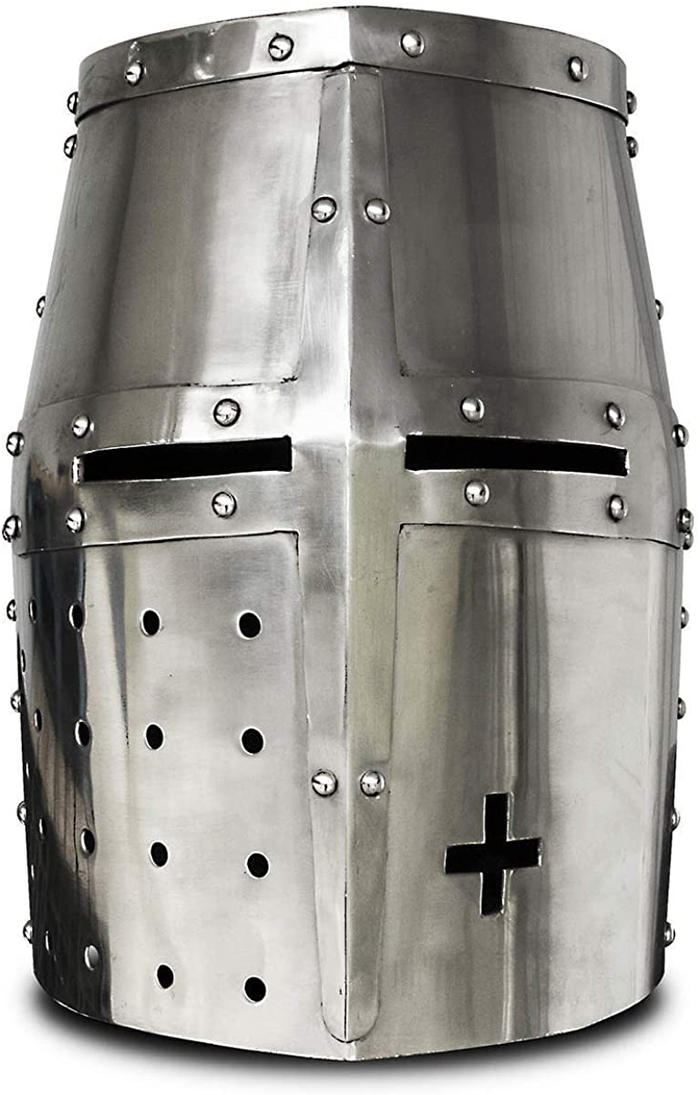 AnNafi Medieval Templar Crusader Knight Armor Helmet | Greek Roman Spartan Armour | Silver Antique Helm A+ | Wearable Free-Size for Adult Costumes
