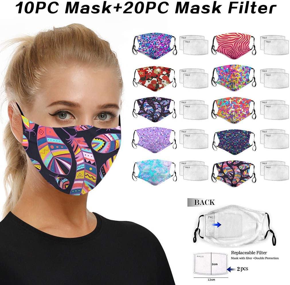 10 pcs Unisex Cotton Face_Mask Covering,with 20 pcs Filters, Dust Cotton, Washable, Reusable Fabric