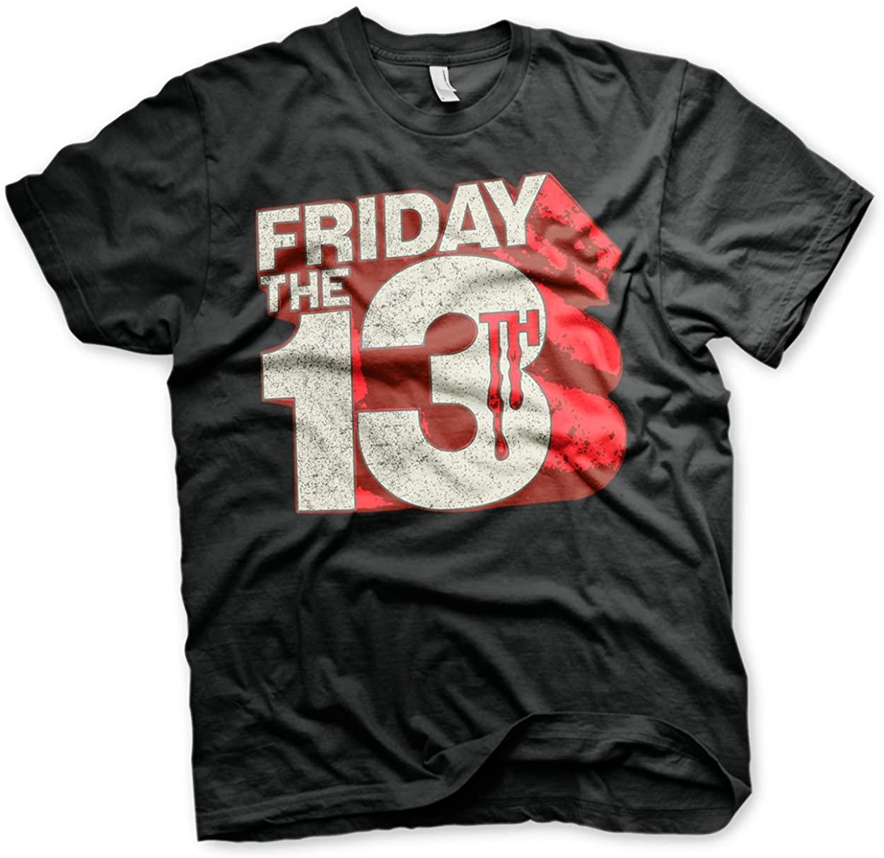 Friday The 13th Officially Licensed Block Logo 3XL,4XL,5XL Mens T-Shirt (Black)