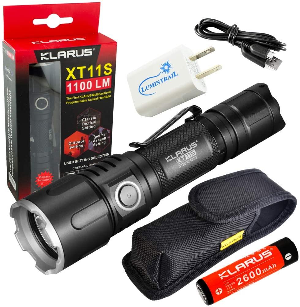 Klarus XT11S Tactical Flashlight 1100 Lumen LED Light Bundle with a Lumintrail USB Wall Adapter