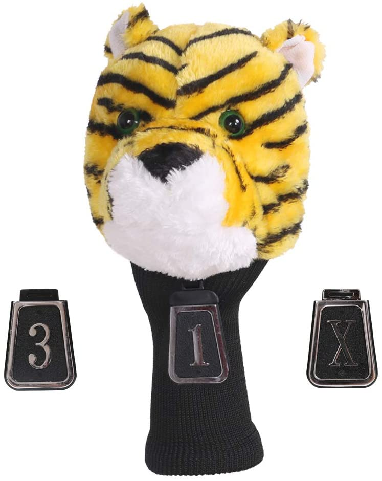 HOW TRUE Animal Golf Headcover Tiger Golf Club Head Covers Numbered 1, 3, X, Fits Drivers, Utility, Rescue & Fairway Clubs