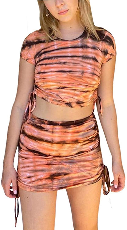 Sivilady Women's 2 Piece Outfits Set Tie Dye Crop Shirt High Waist Bodycon Skirts Party Night Clubwear