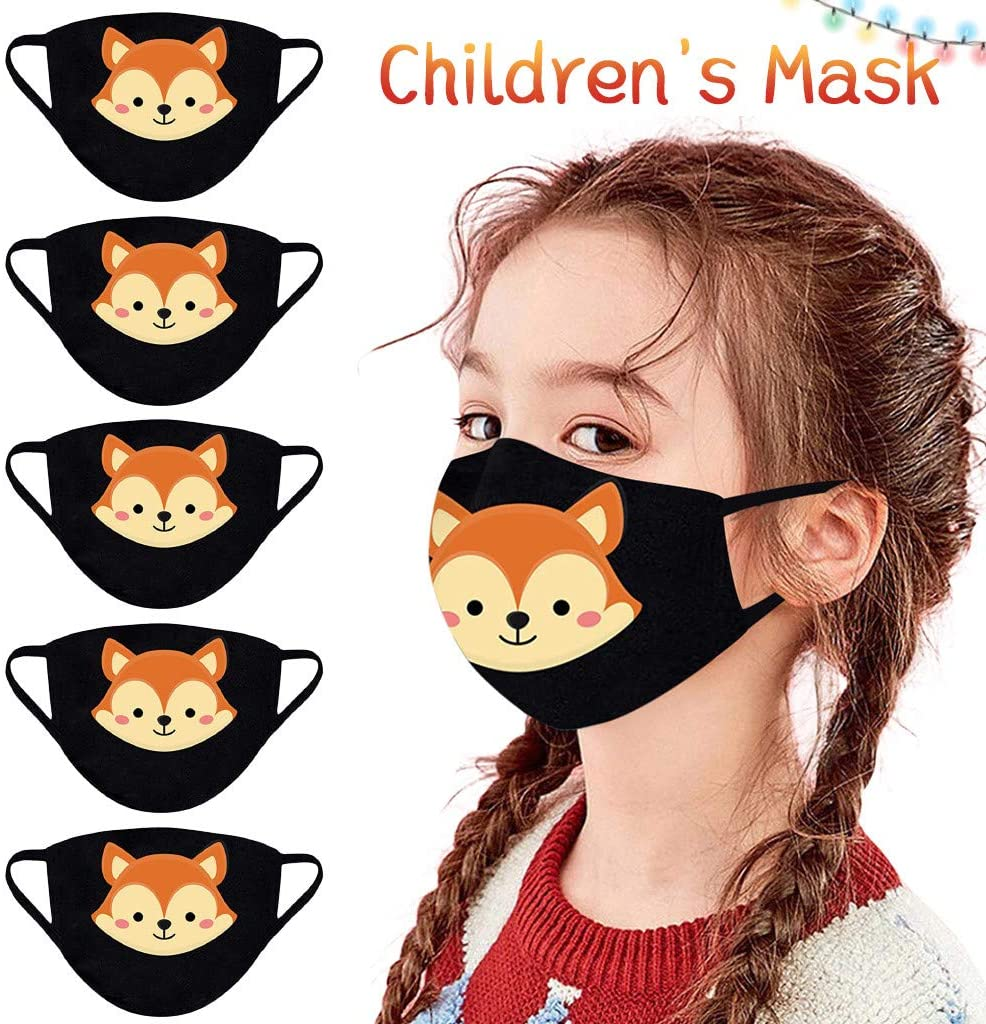 5PC Reusable Cloth Face_Mask with Santa Printed, Breathable and Washable Cotton Material in Christmas Patterns Face Bandanas