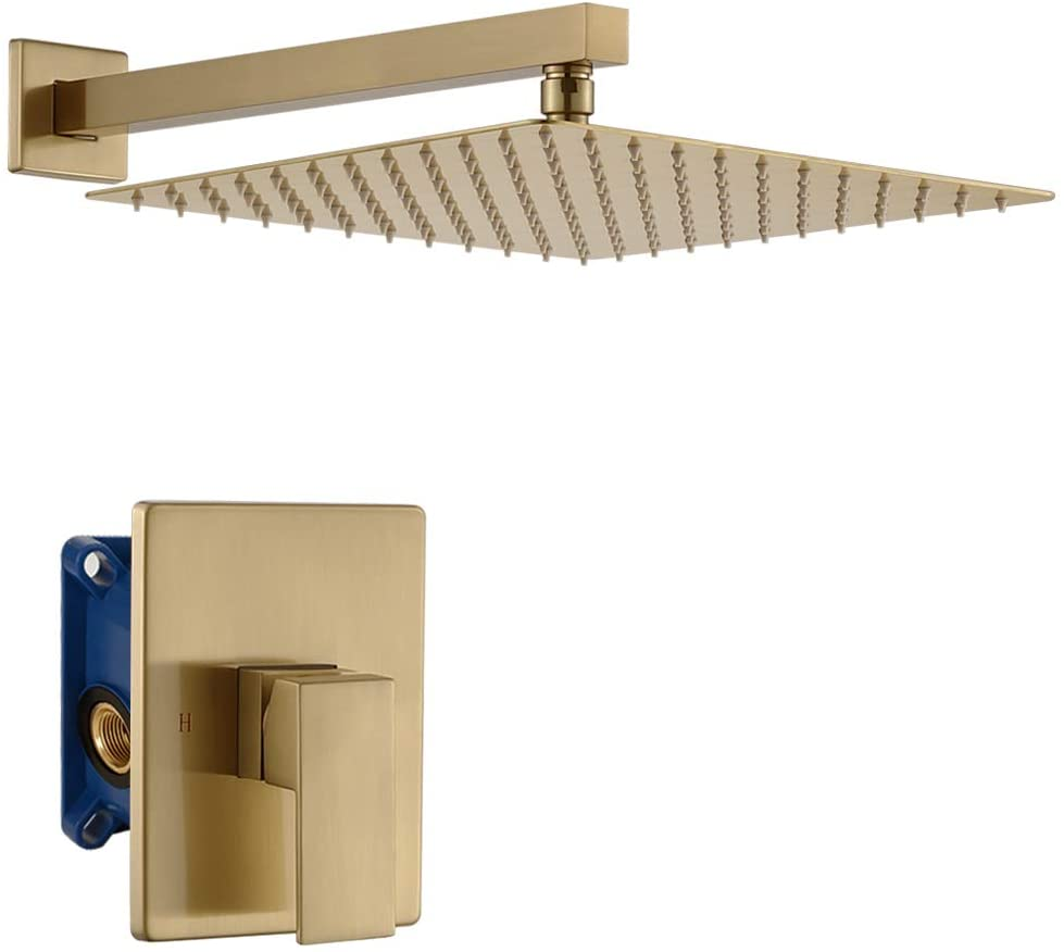 IRIBER Single Function Shower Trim Kit with Rough-in Valve, Bathroom Gold Brushed Shower System Faucet Set with 12 Inch Rainfall Square Stainless Steel Metal Showerhead, Champagne Bronze