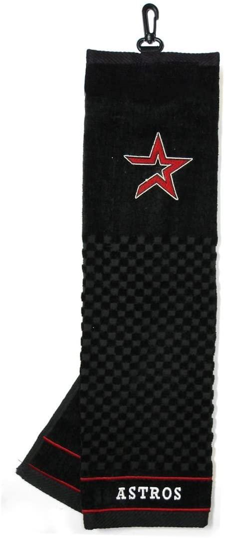 Team Golf MLB Houston Astros Embroidered Golf Towel, Checkered Scrubber Design, Embroidered Logo,Black