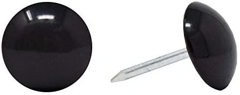 ComfortStyle Premium Upholstery Tacks, Nailhead Decorative Trim for Furniture, 7/16-inch Diameter (100, Black)