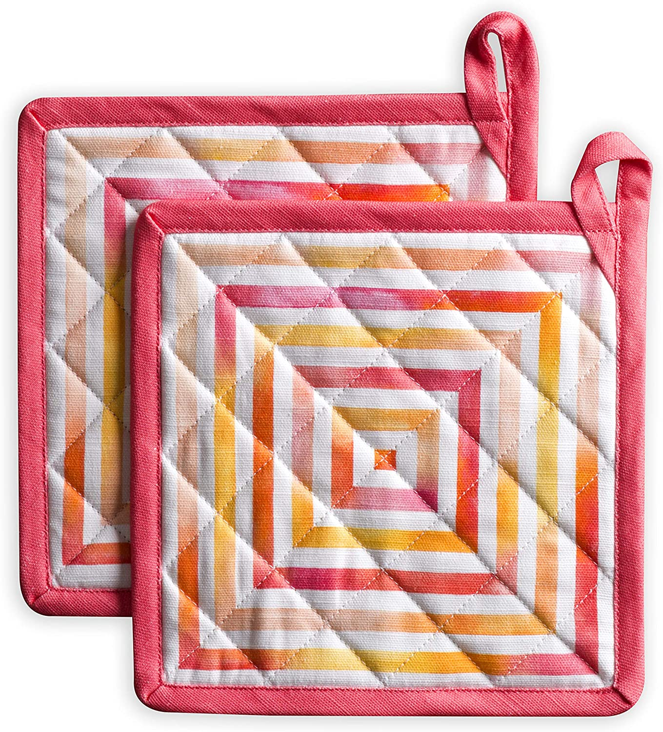 Maison d' Hermine Summer Maze 100% Cotton Set of 2 Pot Holders with Loop Heat Resistant for BBQ | Cooking | Baking | Grilling | Microwave | Barbecue | Spring/Summer (8 Inch by 8 Inch).