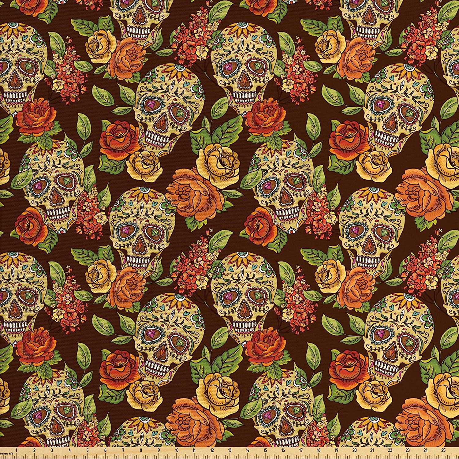 Ambesonne Sugar Skull Fabric by The Yard, Autumn Colored Flowers and Leaves Patterns in Smily Head Bones, Decorative Fabric for Upholstery and Home Accents, 1 Yard, Orange Green