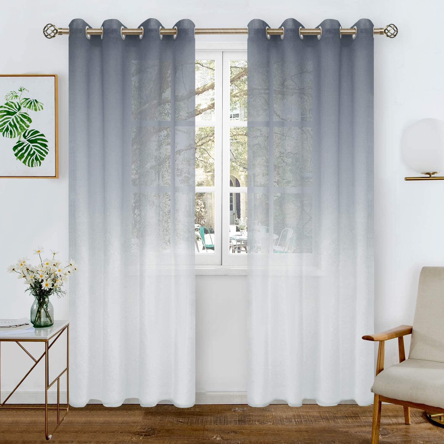 BGment Faux Linen Ombre Sheer Curtains for Living Room, Grommet Semi Voile Light Filtering and Privacy Curtains for Bedroom, Set of 2 Panels (Each 52 x 72 Inch, Bluish Grey)