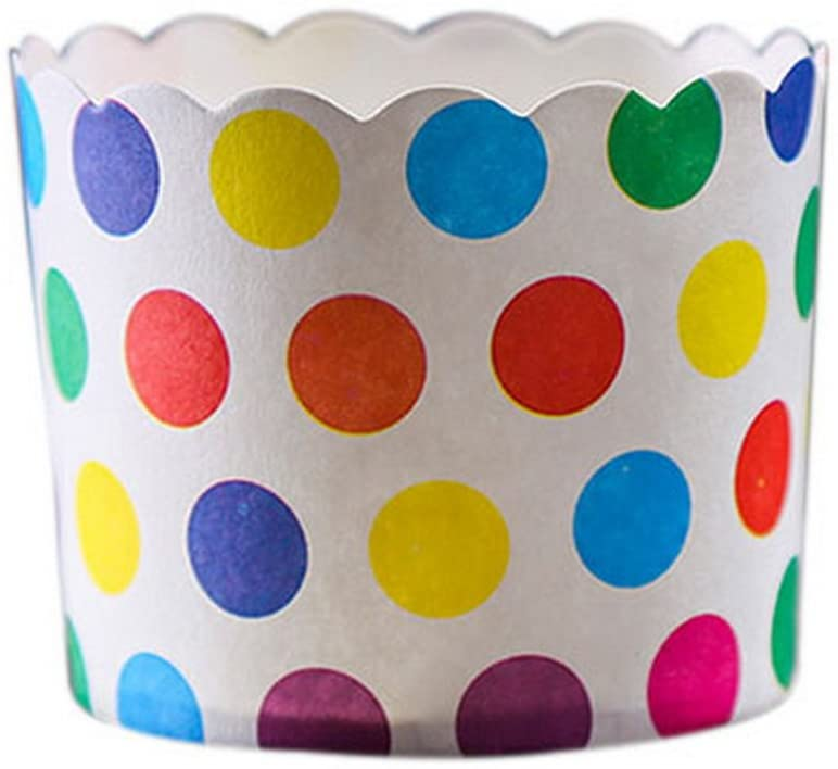 Gentle Meow 50 Medium Lovely Creative Cake Cups, Multicolor Wave Points