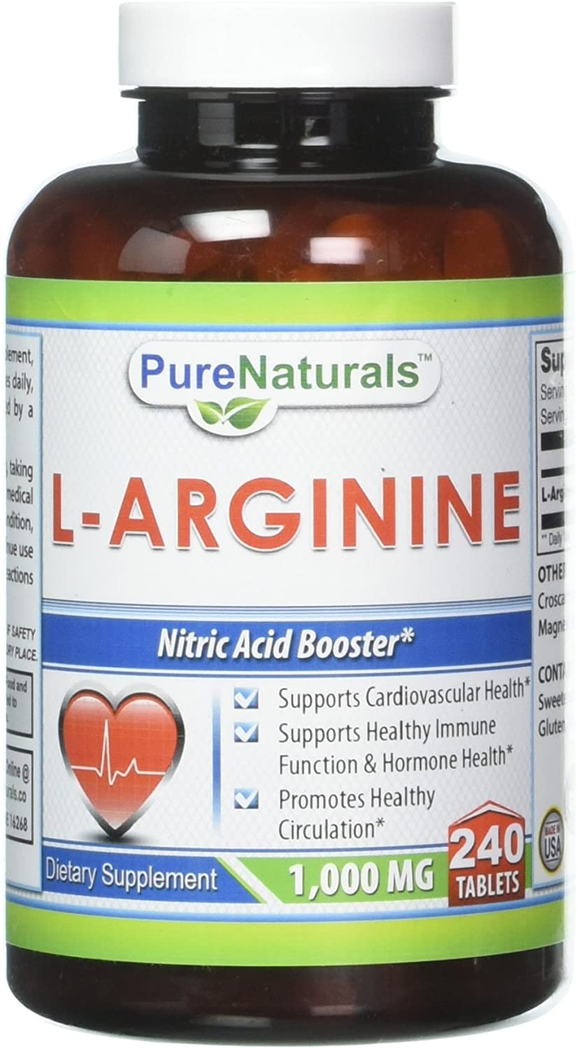 Pure Naturals L-Arginine 1000 Mg, 240 Tablets Supports Cardiovascular Health* Supports Healthy Immune Function & Hormone Health* Promotes Healthy Circulation*