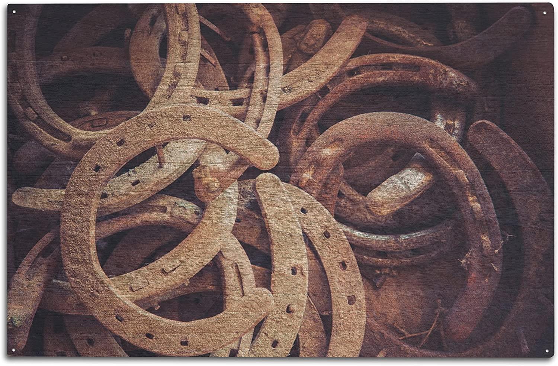 Lantern Press Rusted Horseshoes (10x15 Wood Wall Sign, Wall Decor Ready to Hang)
