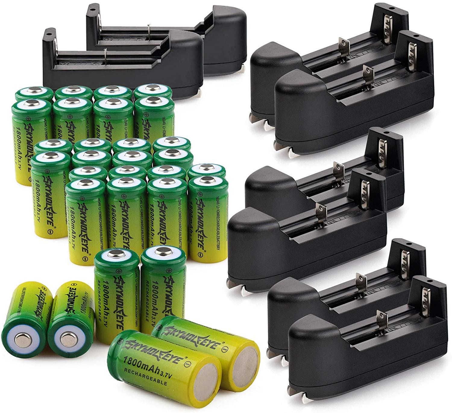 30 PCS 3.7V 1800mAh Li-ion 16#340 Battery CR123A Rechargeable Batteries & 8 PCS Single Slot Universal Rechargeable Charger for Alro or LED Flashlight Torch Headlamp