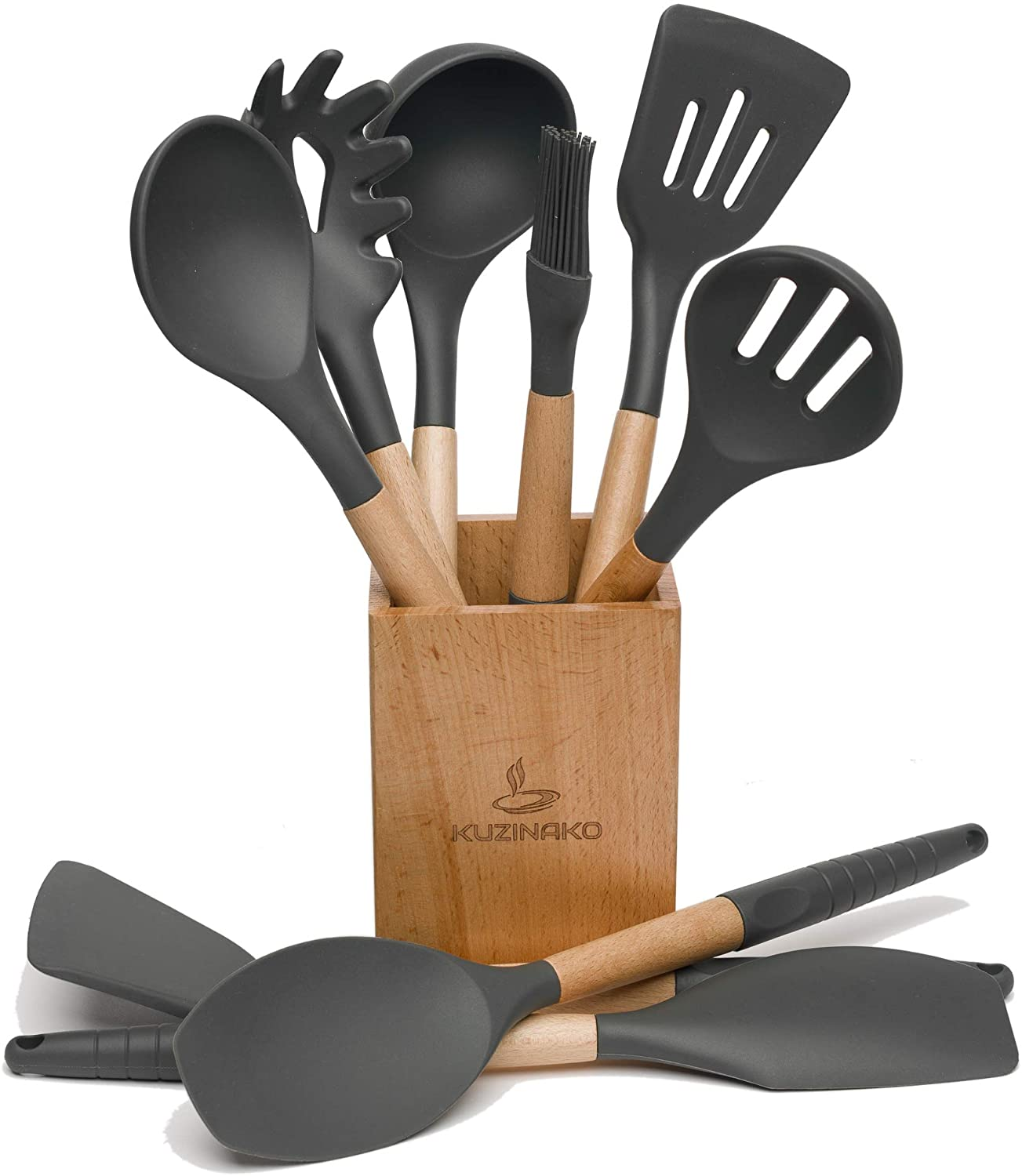 10PCS Kitchen Utensil Set with Holder for Non-stick Cookware Silicone Spatula Set with Kitchen Utensil Holder Silicone Kitchen Set Silicone Cooking Utensils for your Beautiful Kitchen (Grey)