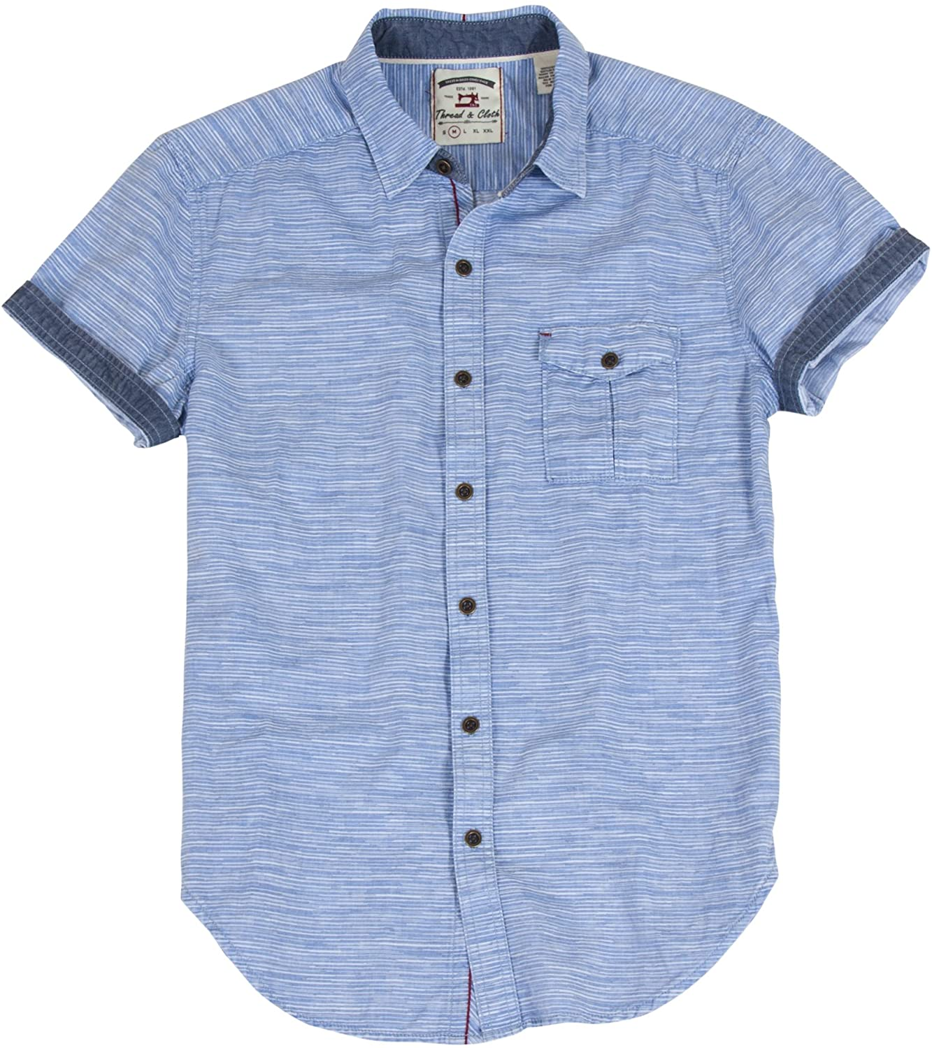 Thread & Cloth Men's Acid Washed Variegated Horizontal Stripe Woven Shirt