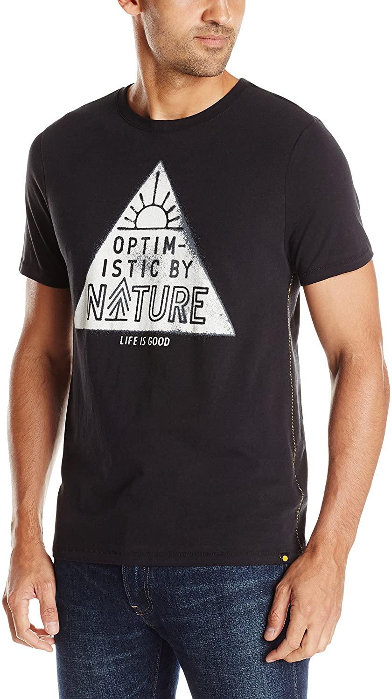 Life is good Men's Newbury Optimistic by Nat T-Shirt (Night Black)