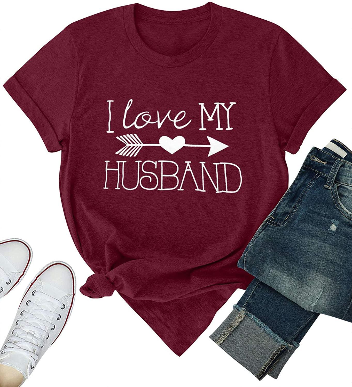 ZJP Women I Love My Husband Letter T-Shirt Graphic Print T Shirt Casual Tee Tops