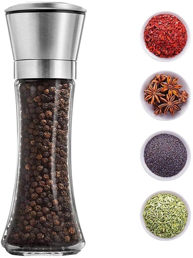 Salt and Pepper Grinder - Premium Lovely Stainless Steel Salt and Pepper Mill with Adjustable Coarseness - Practical Salt Grinder and Pepper Shaker Mill