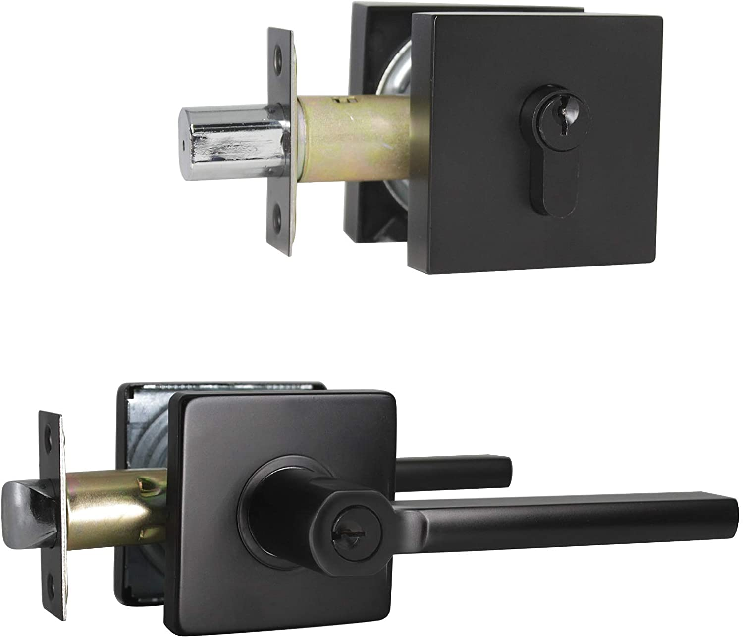 Probrico Hardware (6 Set) Entry Door Lever and Single Cylinder Deadbolts,Front Handlesets Combination Set,Combo Pack in Black Finish,Square Handle Keyed Alike Set Security for Entrance and Front Door