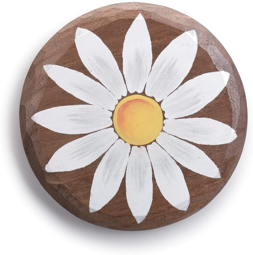 Daisy Flower White on Natural Brown 7 x 6 Paulownia Wood Magnetic Token