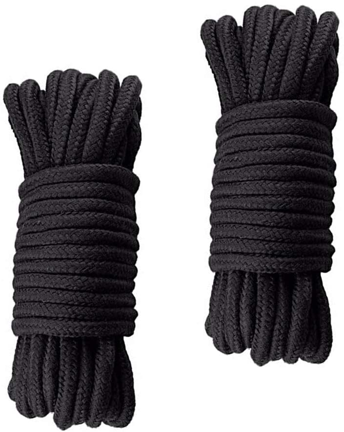 Soft Cotton Rope, 2Pcs 10 M/32 Feet 8 MM Twisted Multipurpose Rope, Craft Rope (Black)