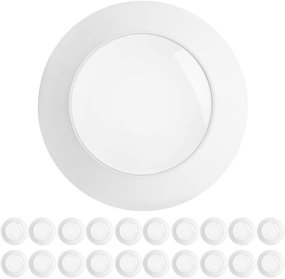 Freelicht 20 Pack 5/6 Inch Flush Mount LED Disk Light, 15W=120W, 3000K Warm White, 1100LM, Dimmable, Hardwire 4/6