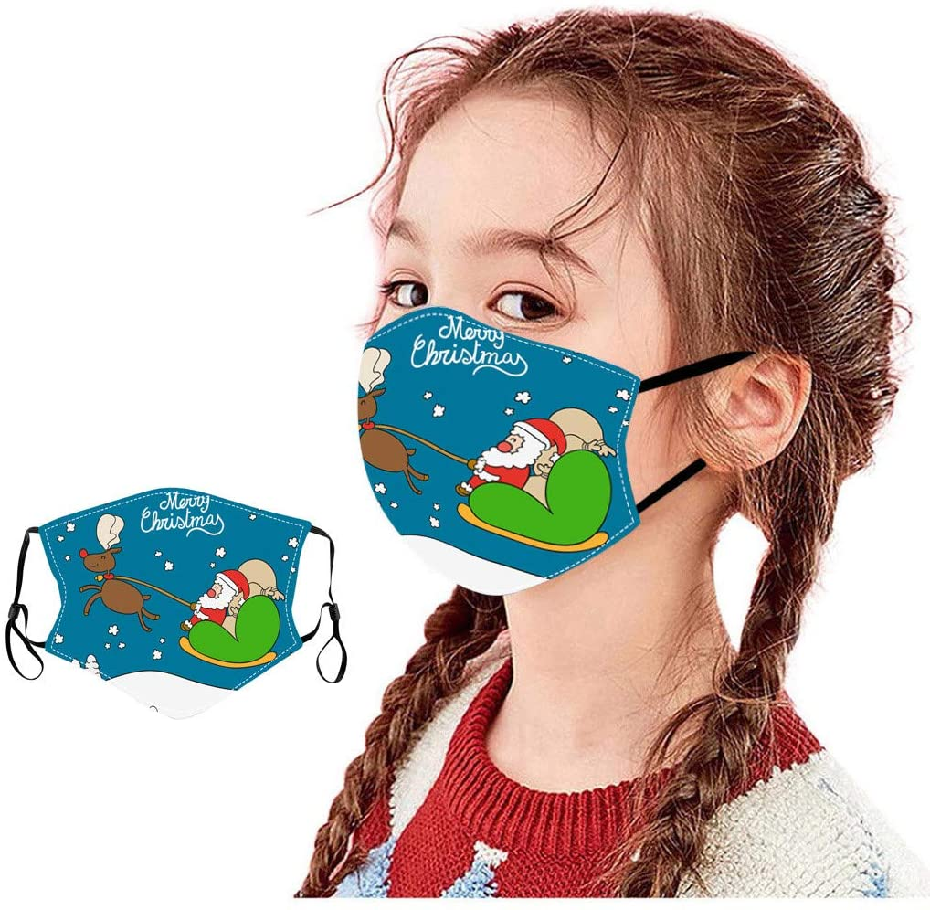 YoungGo Childrens Christmas Printed Covers are Washable and Filterable face mask Reusable