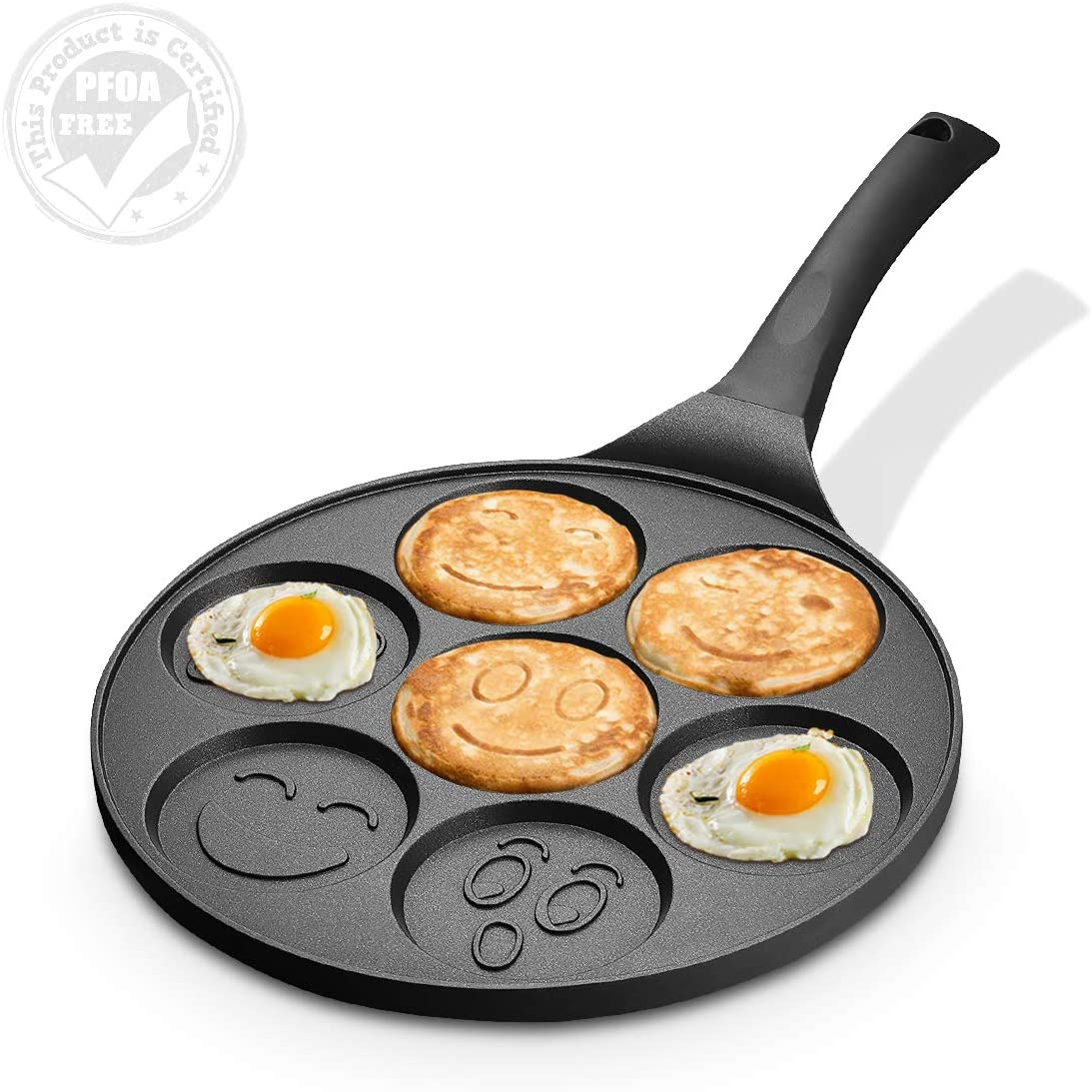 FRUITEAM Smiley Face Pancake Pan Nonstick Griddle 10 Inch Pancake Maker Mini Pancake and Flapjack 7 Mold Emoji Blini Pan for Son Daughter Gifts from Mom