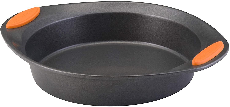 Rachael Ray Yum -o! Nonstick Bakeware Baking Pan With Grips / Nonstick Cake Pan With Grips, Round - 9 Inch, Gray