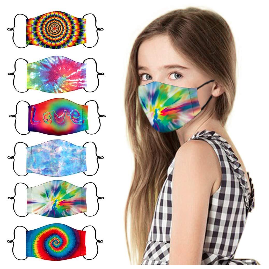 Gecau 6pc Kids School Face Cotton Bandana_Mask_Covering, Fashion Reusable&Washable Ear Loop Face Madks for Little Boys Girls 3-13 Years