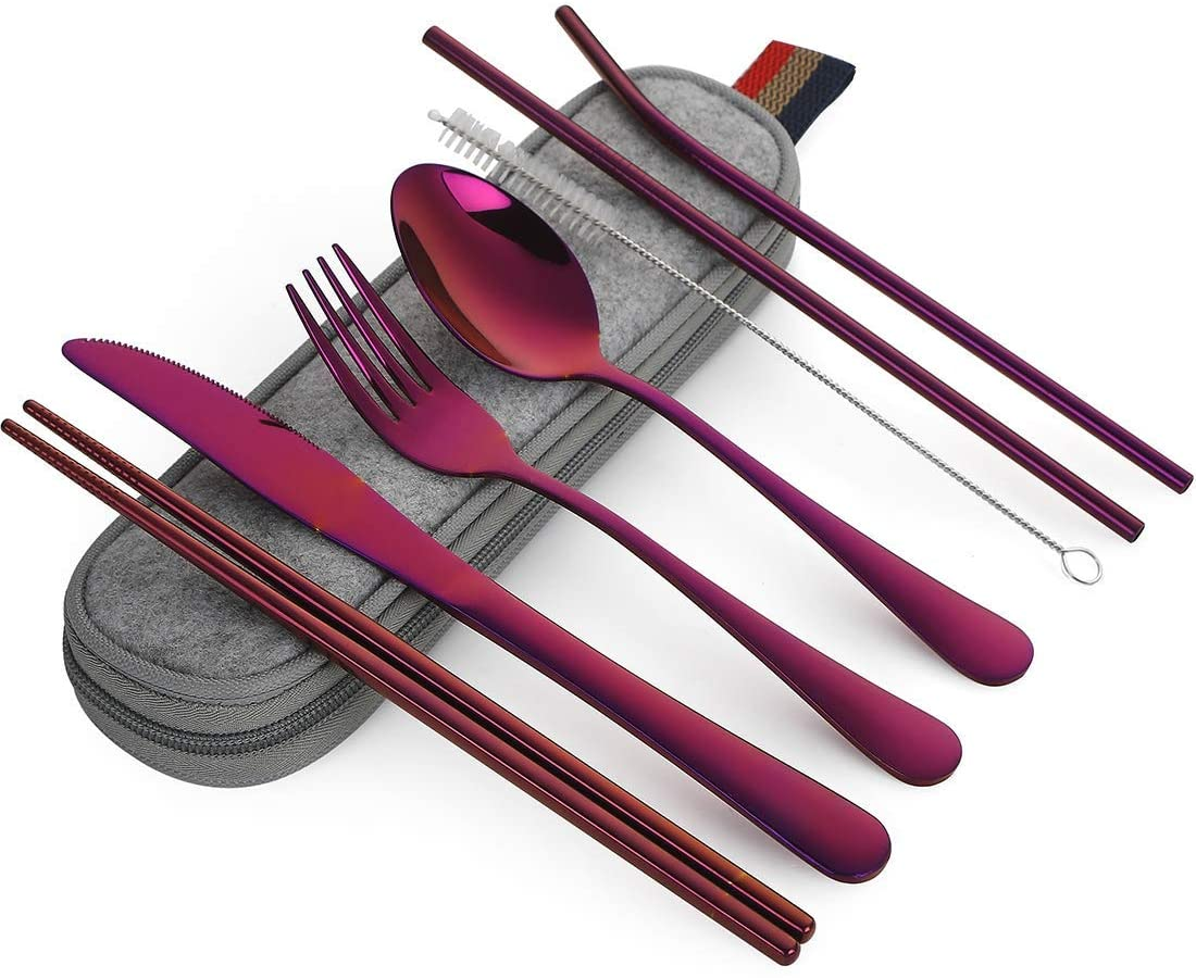 Travel Portable Utensils, Reusable Stainless Steel Utensils with Case, Portable Utensil Set for Lunch Box, 8-Piece including Knife Fork Spoon Chopsticks Cleaning Brush Straws (Purple)