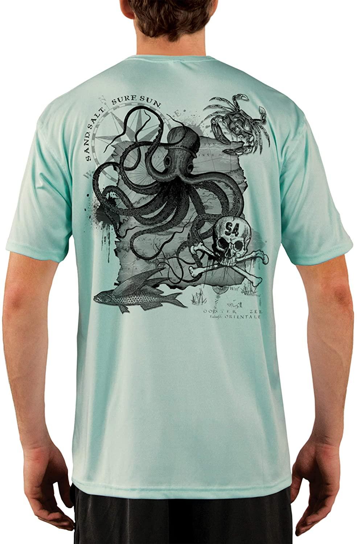 SAND.SALT.SURF.SUN. Vintage Ocotpus Men's UPF 50+ UV Sun Protection Performance Short Sleeve T-Shirt