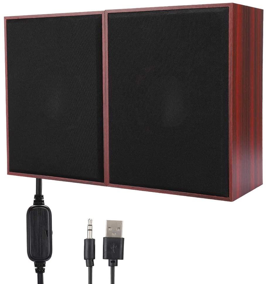 FT-180A Desktop Wooden Speaker, Mini USB Multimedia 360° Stereo Music Player, Wide Compatibility High Sensitivity Computer Speaker for Laptop, Computer(Red)
