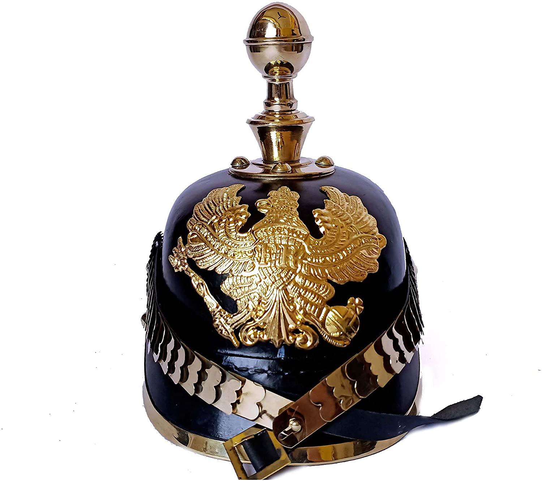 AnNafi German Pickelhaube Helmet | Leather Pickelhaube Imperial Prussian Helmet | Brass Military Officer Round Top Men's Costume | WWI & WWII Helmets Replica LARP Re-Enactment Party Cosplay Costumes