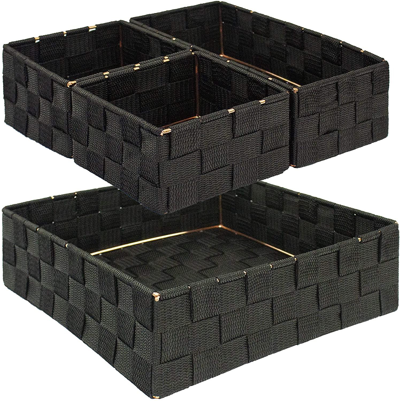 OneDesign Closet Organization & Storage (Set of 4) Desktop Organizer Mylar Drawer Dividers; Black & Rose Gold Highlights- 4.5