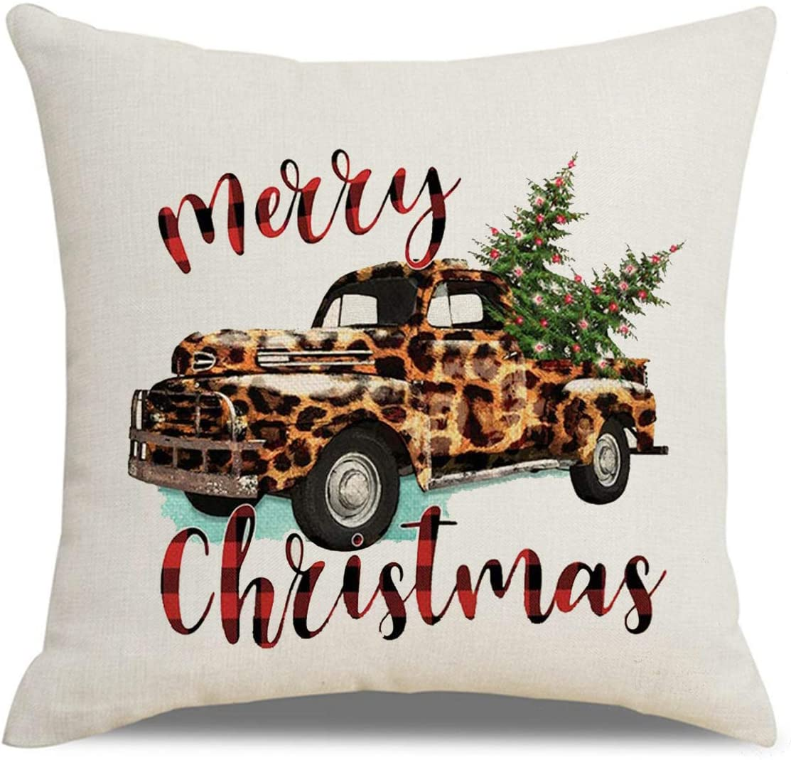 AFOKNY Leopard Truck Christmas Tree Throw Pillow Covers Winter Holiday Sign Farmhouse Decoration Gift Cotton Linen Home Decorative Throw Pillow Case Cushion Cover for Sofa Couch 18