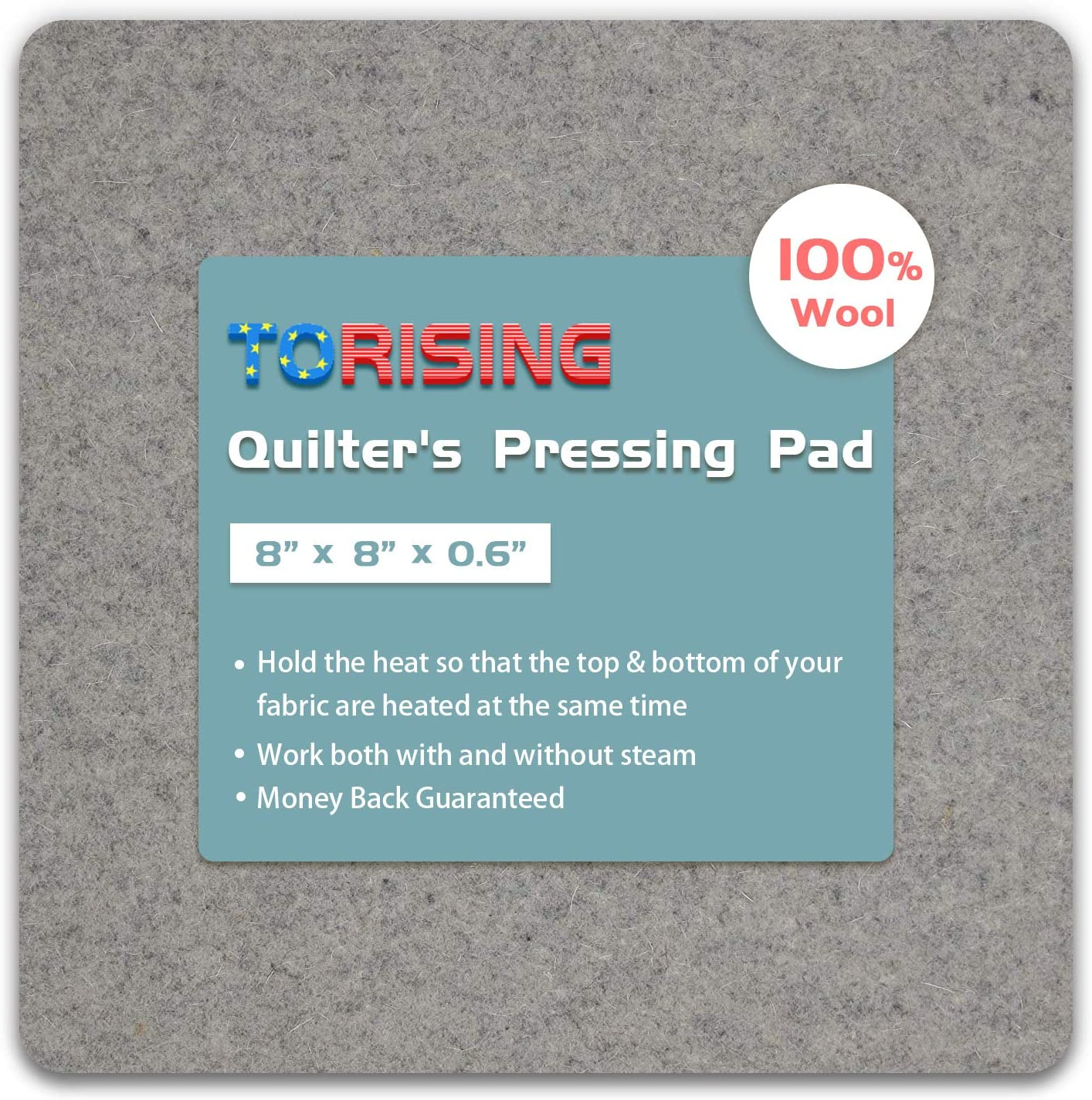 "Wool Pressing Mat for Quilting - 8""x8""x0.6"" 100% Wool Quilter's Pressing Ironing Pad"